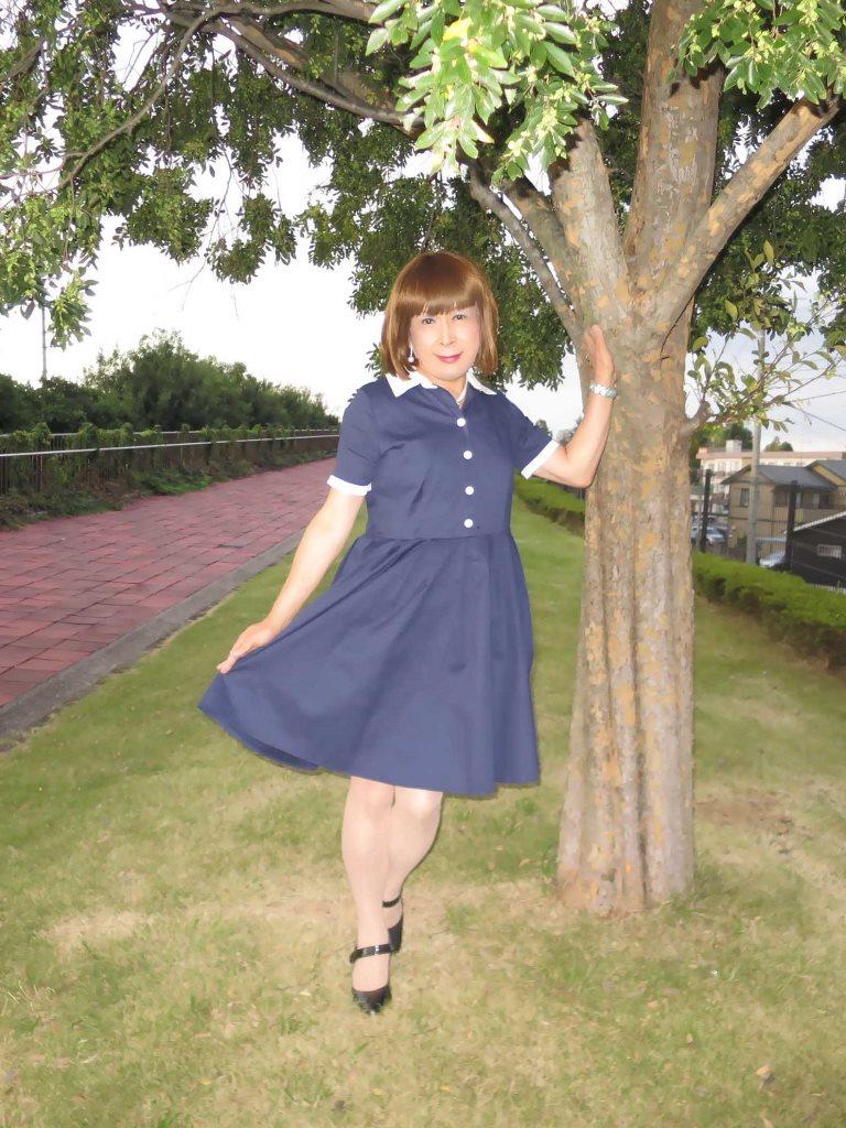 白襟紺色ワンピA(6)