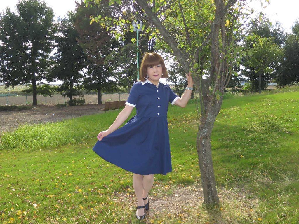 白襟紺色ワンピA(7)