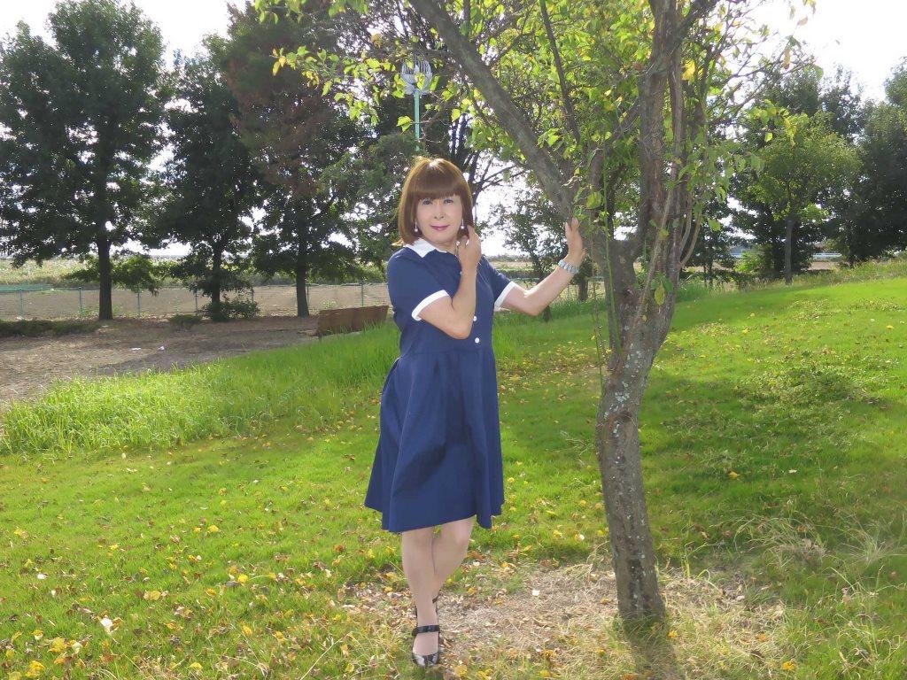 白襟紺色ワンピA(8)