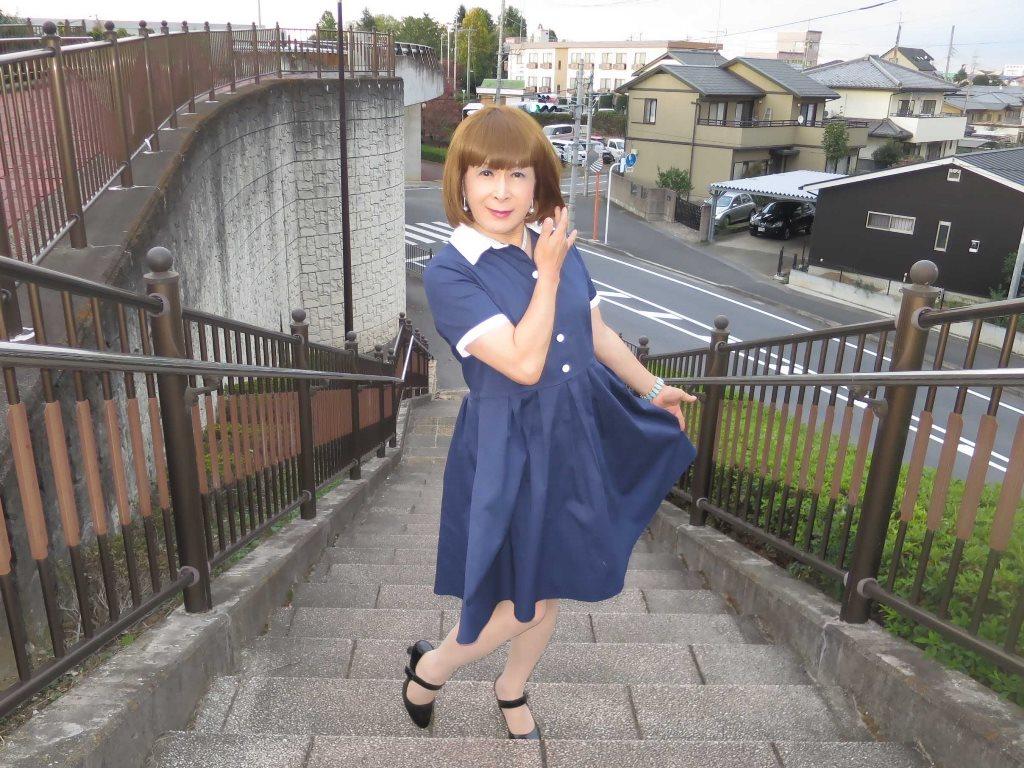白襟紺色ワンピC(5)