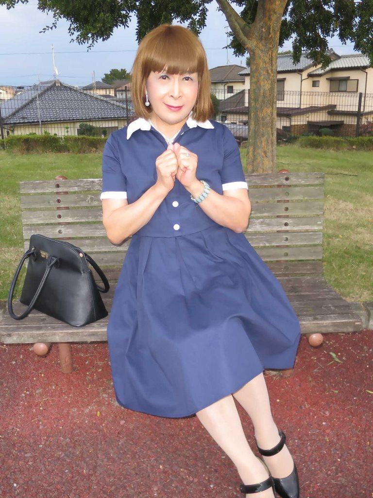 白襟紺色ワンピD(2)
