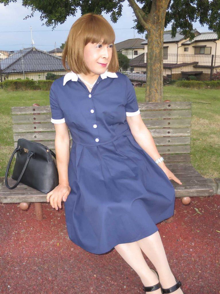 白襟紺色ワンピD(3)