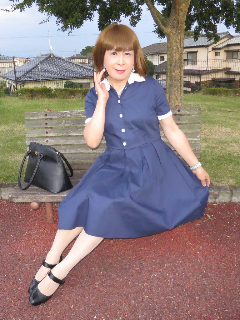 白襟紺色ワンピD(4)