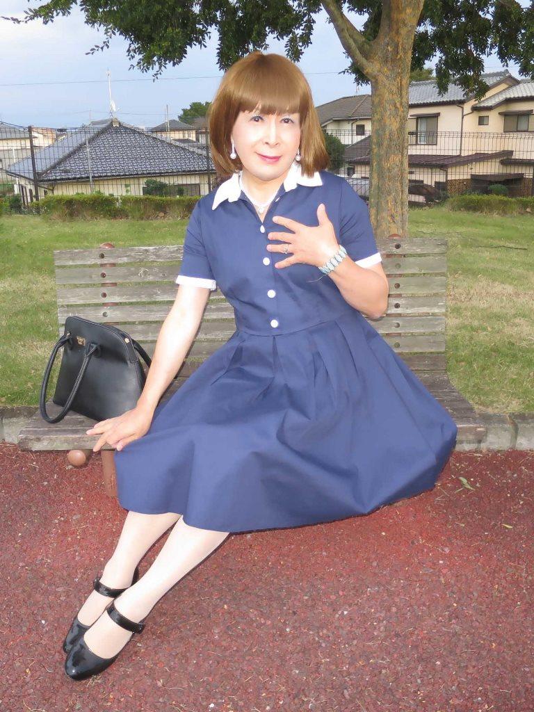 白襟紺色ワンピD(5)