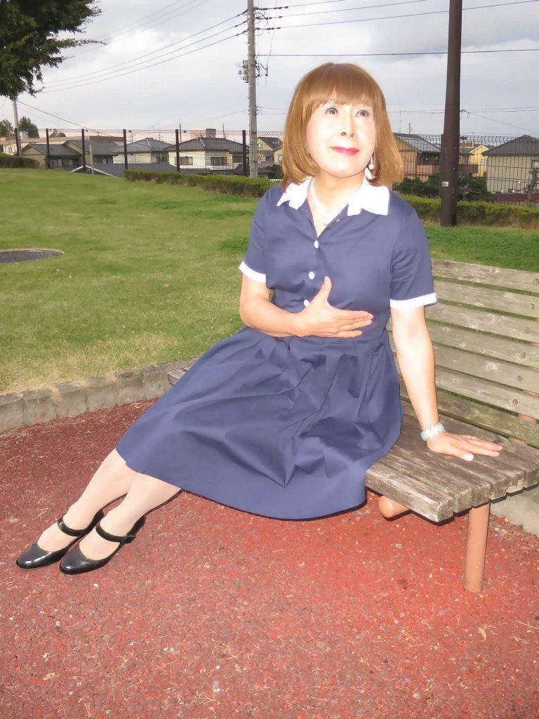白襟紺色ワンピD(8)