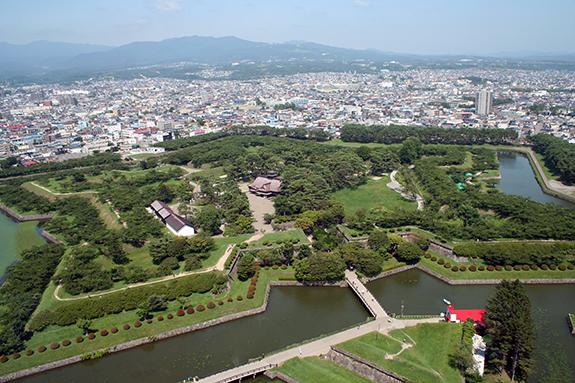 函館 五稜郭タワーから写した五稜郭跡地