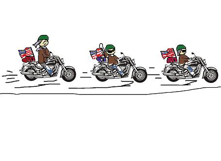 オートバイで