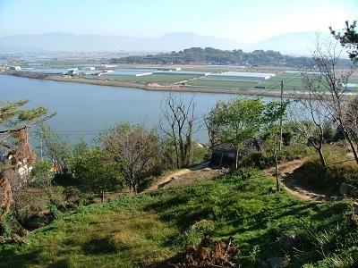 金海竹島城から洛東江を望む