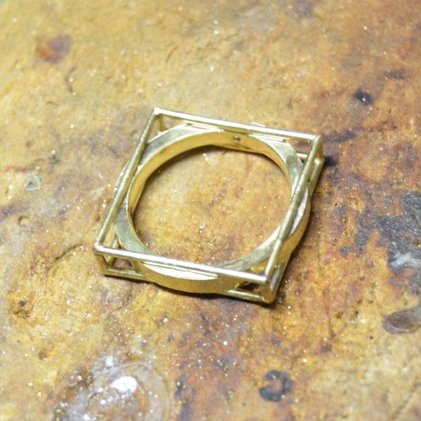 K18YGイエローゴールドダイアモンドリング加工ハンドメイド手作り45jpg