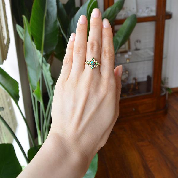 K18YG製イエローゴールドオパールグリーンガーネットブルートパーズペリドットダイアモンドリング指輪