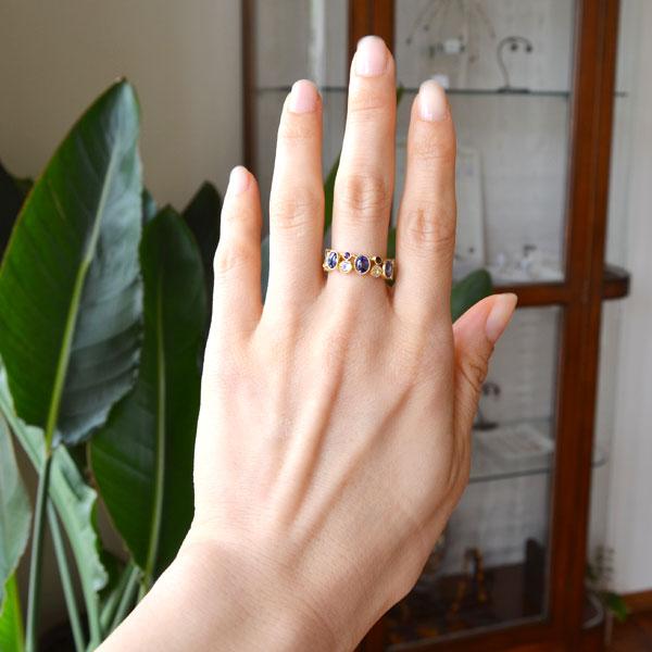 K18YG製イエローゴールドタンザナイトムーンストーンアメジストリング指輪