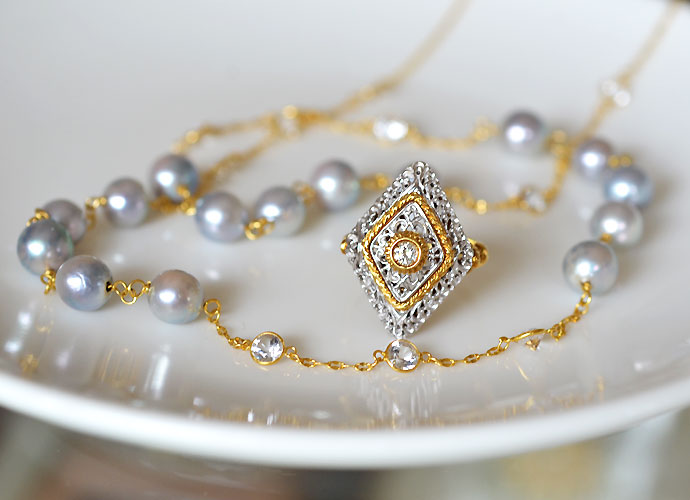 K18YGイエローゴールドダイアモンドリングあこやナチュラルグレー真珠ホワイトトパーズロングネックレス