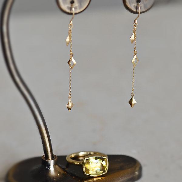 K18YG製イエローゴールド地金ピアスイエローベリルヘリオドールリング指輪加工ハンドメイドオーダーメイドジュエリー手作り