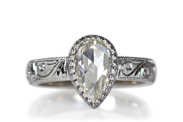 Pt900製プラチナローズカットダイアモンド彫金リング手彫りの指輪ハンドメイドオーダーメイドジュエリー