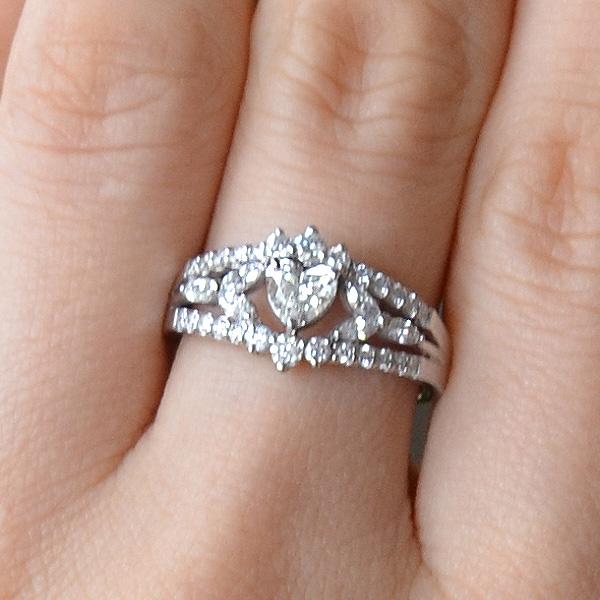 Pt900プラチナハートシェイプダイアモンドリング指輪2
