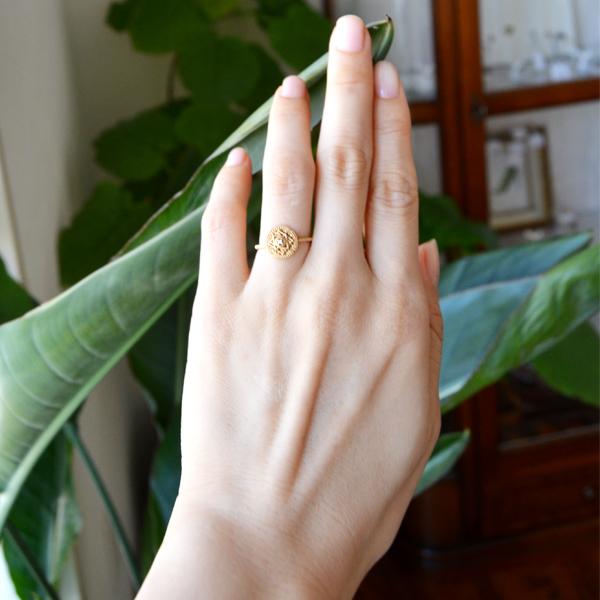 K18YGイエローゴールドダイアモンドリング指輪楕円