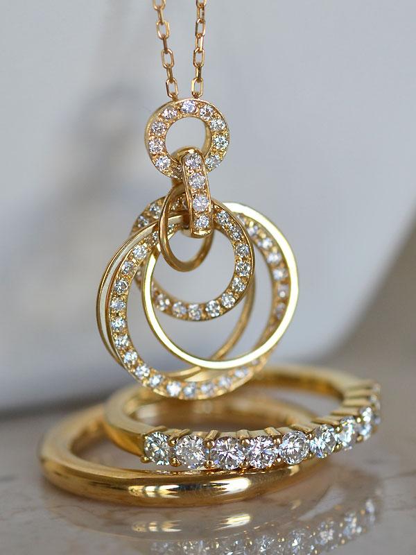 K18YGイエローゴールドダイアモンドペンダントネックレスハーフエタニティリング指輪
