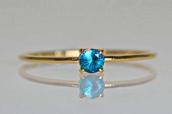 K18YG製イエローゴールドネオンブルーアパタイトリング指輪