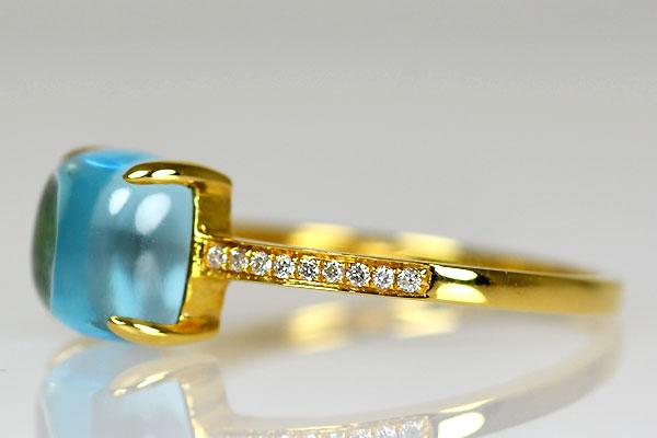 K18YG製イエローゴールドブルートパーズカボションダイアモンドリング指輪