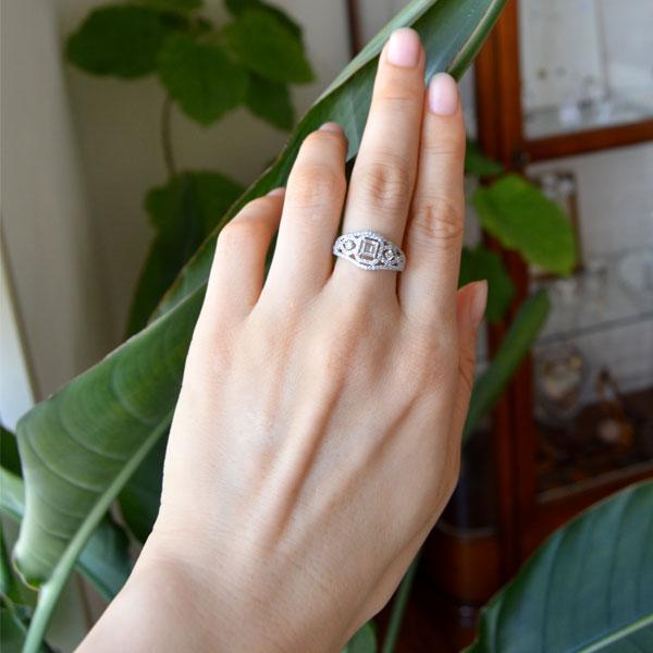 プラチナスクエアステップカットダイアモンドリング指輪アールデコ