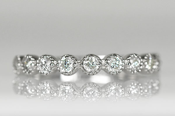 Pt900製ダイアモンドミルグレインミル打ち指輪ハーフエタニティリング