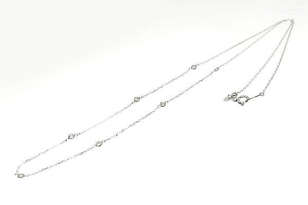 Pt900・Pt850製ダイアモンドステーションネックレスティファニータイプ
