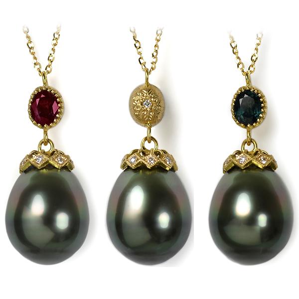 K18YG製イエローゴールド南洋黒真珠タヒチパールカラーチェンジガーネットダイアモンド彫金リバーシブルペンダント手作り加工ハンドメイドオーダーメイドジュエリー