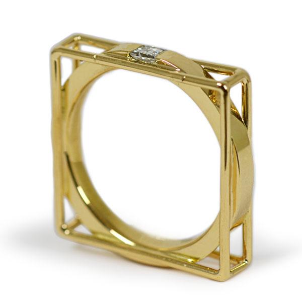 K18YG製イエローゴールドエメラルドカットダイアモンドリング指輪ハンドメイド手作り加工