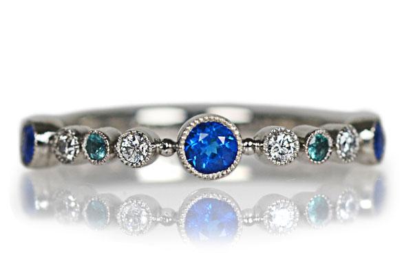 Pt900製アウイン(アウイナイト)パライバトルマリンダイアモンドリング指輪