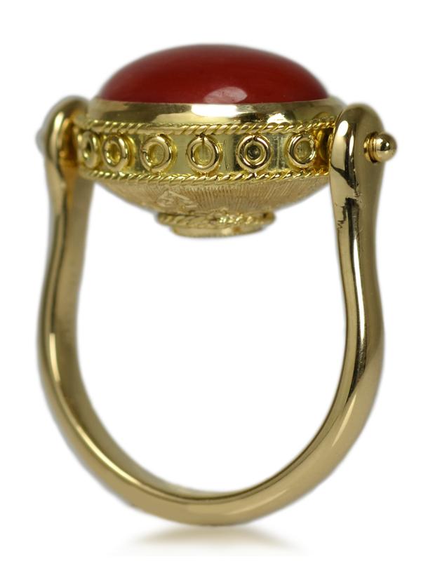 K18YG製イエローゴールド珊瑚ダイアモンド彫り彫金手作りハンドメイド加工オーダーメイドジュエリーリング指輪