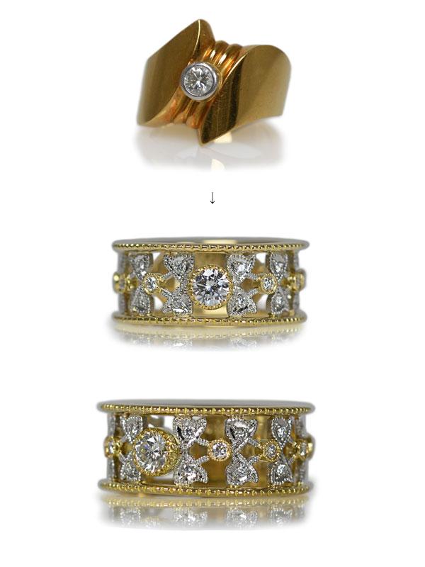ダイアモンドリング指輪ゴールドハンドメイドオーダーメイドジュエリー加工作り変えリフォームリメイク