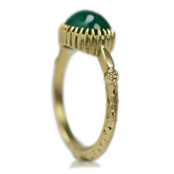 K18YG製イエローゴールドエメラルド模様彫り手彫りハンドメイドジュエリー手作り加工指輪