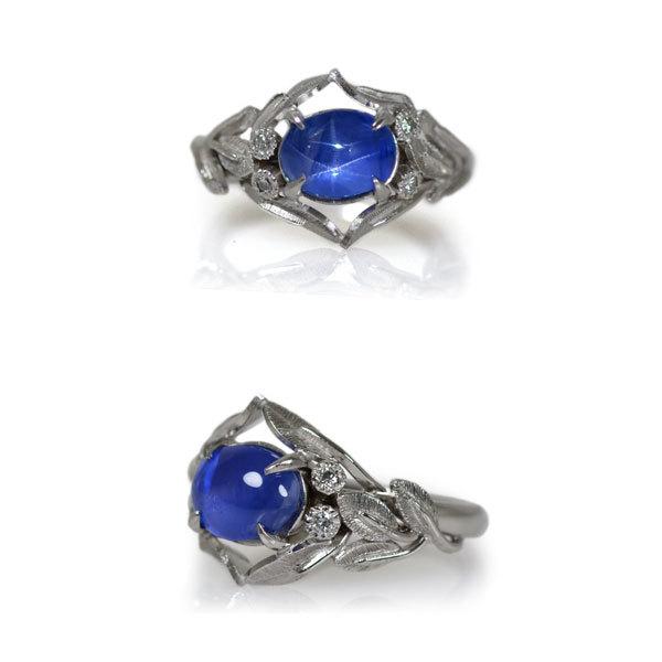 Pt900製プラチナスターサファイアダイアモンドリング指輪オーダーメイドジュエリーハンドメイドジュエリー加工