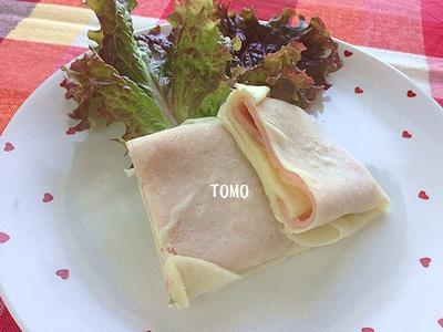 春巻きの皮 de ハムとチーズのブリトーニ3