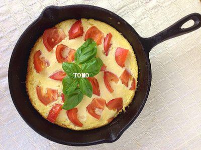 お豆腐とトマトのオープンオムレツ