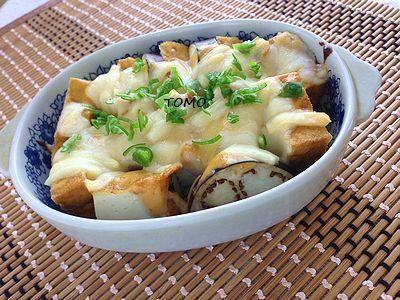 簡単おつまみ♪なすと厚揚げの味噌マヨチーズ焼き2