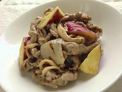 サツマイモとレンコン、豚肉の味噌マヨニンニク炒め