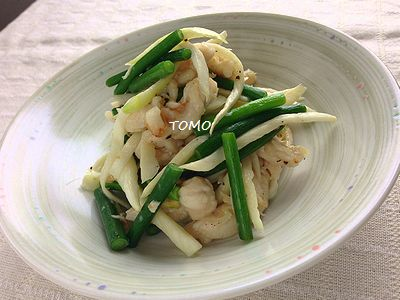 マコモダケと鶏肉のニンニクの芽炒め