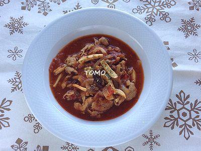 カルフォルニアプルーン de 豚肉とエリンギのトマト煮