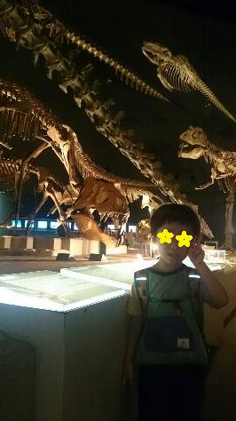 恐竜ほねほねをバックに
