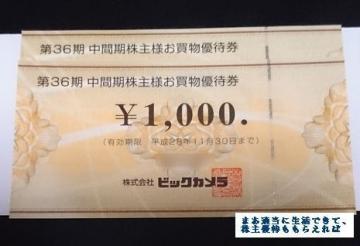 ビックカメラ 優待券02 201602