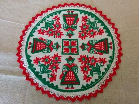 ハンガリー製 民族衣装の刺繍のドイリー1