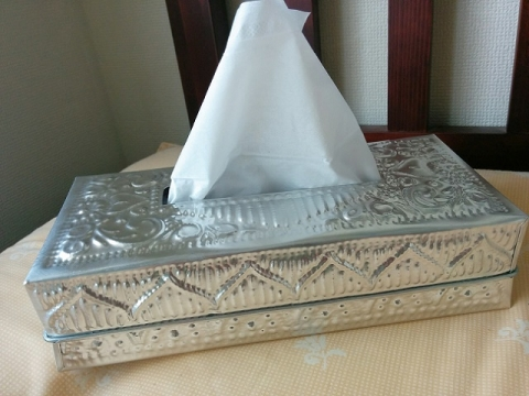 バリ島製アルミのティッシュボックス1