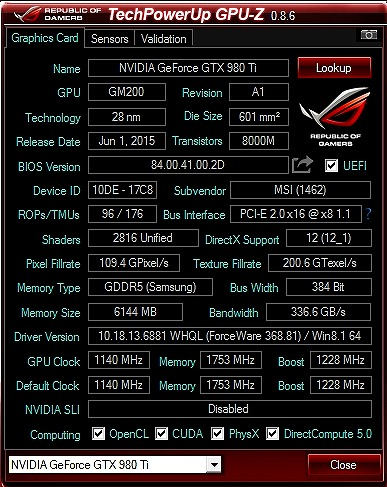 GPUZ GeForce GTX 980 Ti GAMING 6G