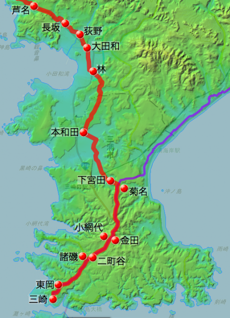 鎌倉・三崎道の各村の位置(南半分)