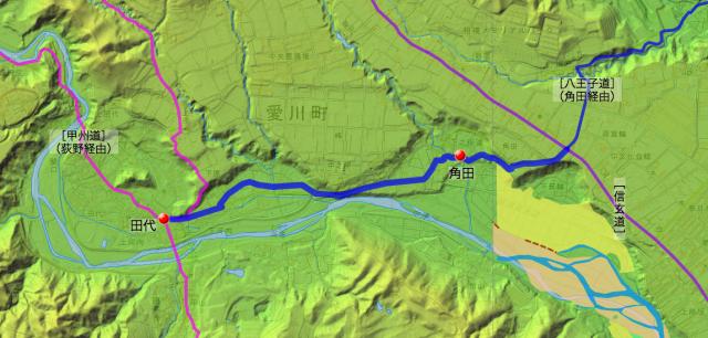 巡見道:愛甲郡中田代〜角田村間の道筋