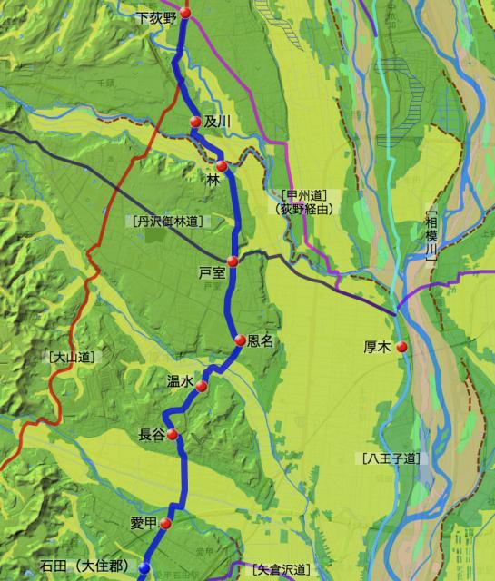 巡見道:愛甲郡中愛甲村〜下荻野村間の各村の位置