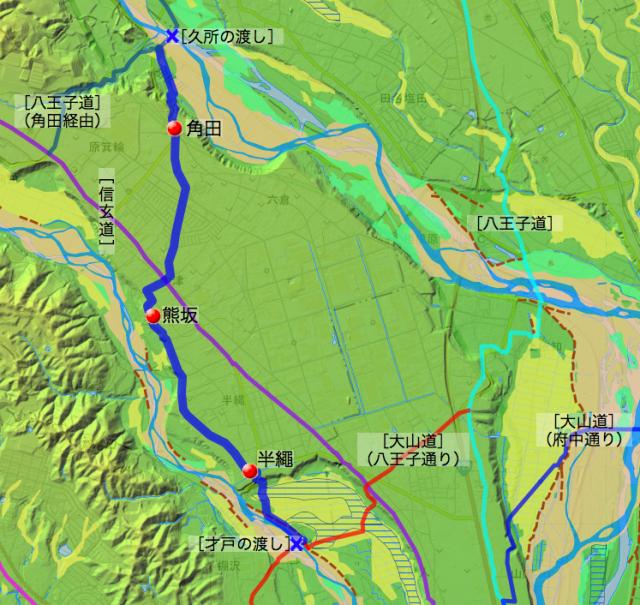 熊坂通り大山道:愛甲郡中の各村の位置