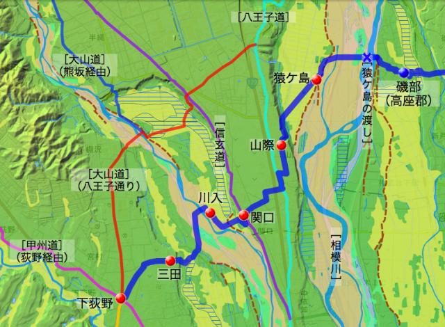 府中通り大山道:愛甲郡中の各村の位置