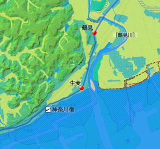 生麦付近の東海道の海岸線との位置関係